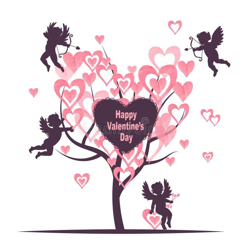 Progettazione di carta di giorno di biglietti di S. Valentino con l'albero di amore ed i cupidi svegli royalty illustrazione gratis