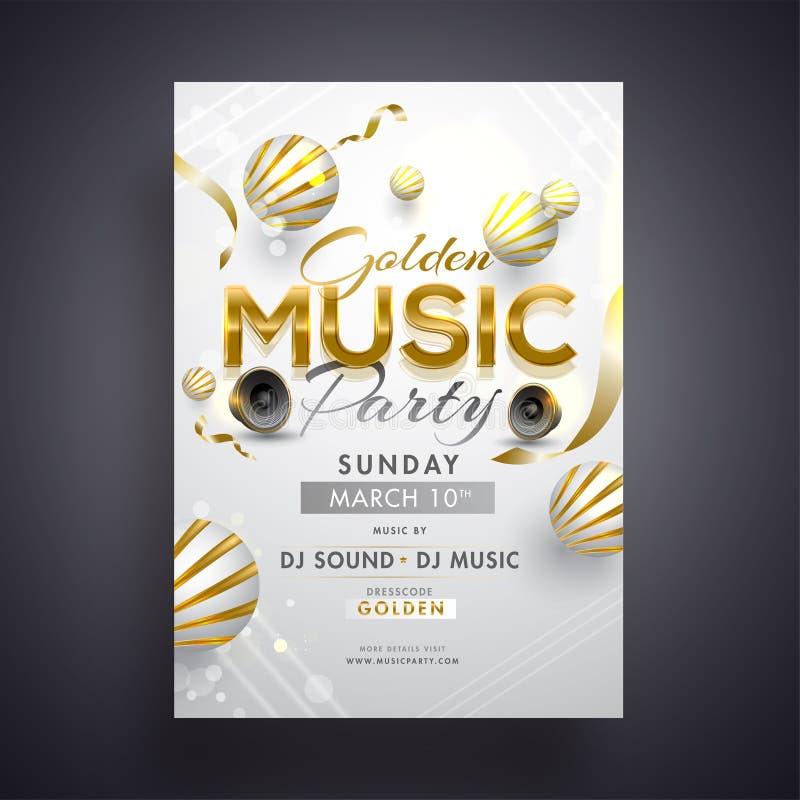 Progettazione di carta dorata dell'invito del partito di musica con gli altoparlanti per basse frequenze e l'estratto 3d illustrazione vettoriale