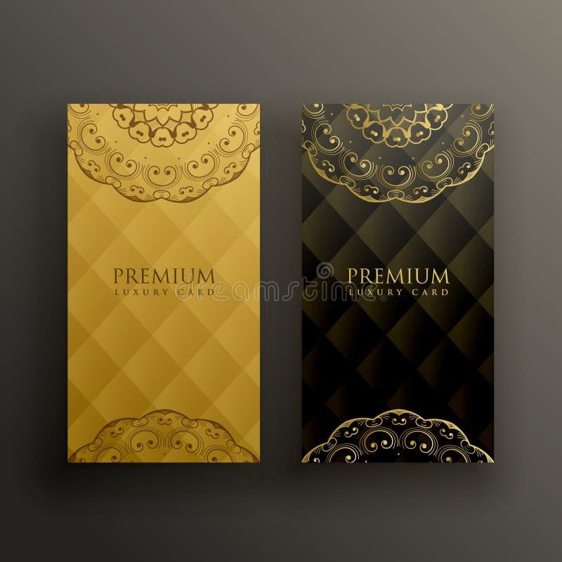 Progettazione di carta dorata premio della mandala alla moda illustrazione vettoriale