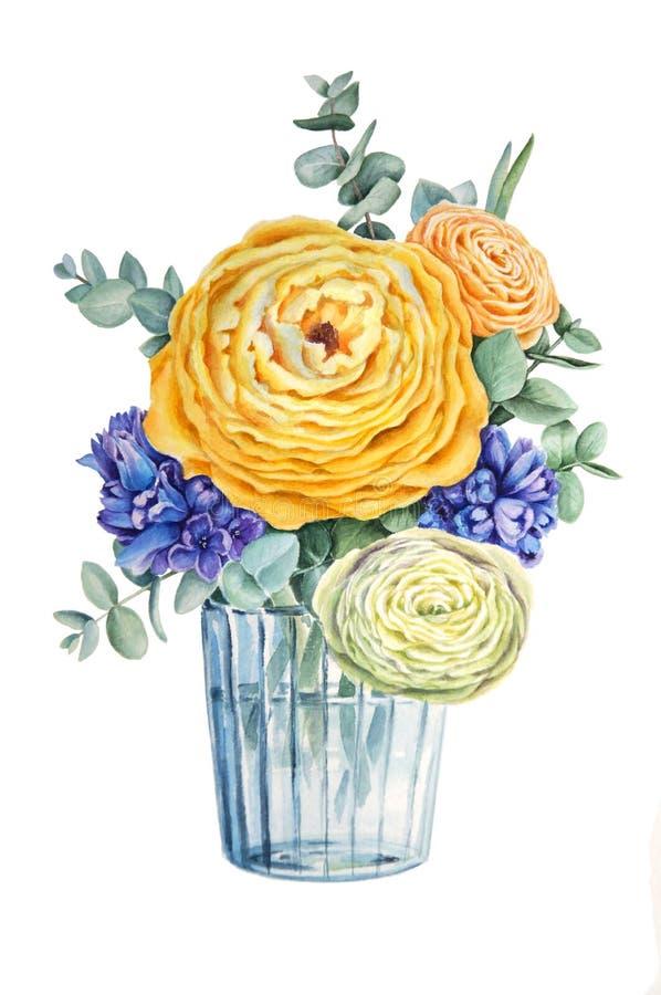 Progettazione di carta elegante floreale: mazzo della molla delle rose, dei ranunculus, dei giacinti e dell'eucalyptus royalty illustrazione gratis