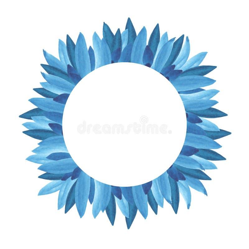 Progettazione di carta floreale della pianta: il blu del ramo lascia ad erba del fogliame la struttura rotonda della pianta illustrazione vettoriale