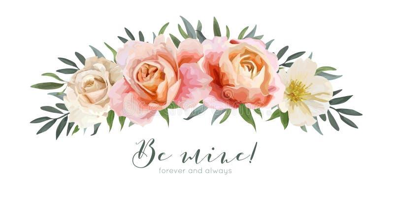 Progettazione di carta floreale di vettore: pesca di rosa di giardino, Rosa arancio cremosa royalty illustrazione gratis