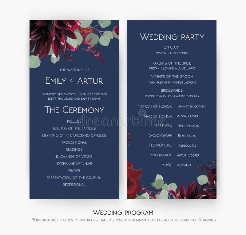 Progettazione di carta di programma di cerimonia & della festa nuziale con il flowe della rosa rossa illustrazione vettoriale