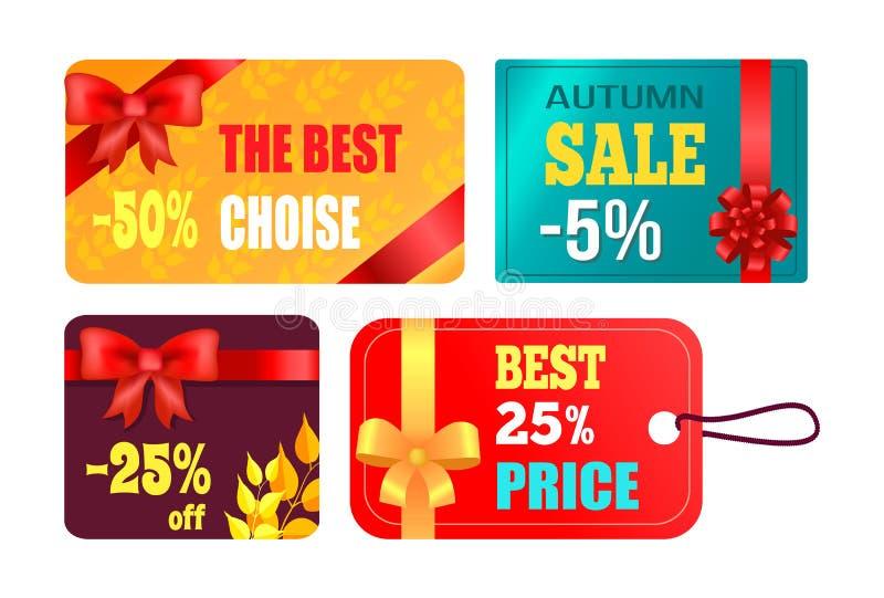 Progettazione di carte del regalo con il migliore prodotto dell'arco decorativo royalty illustrazione gratis
