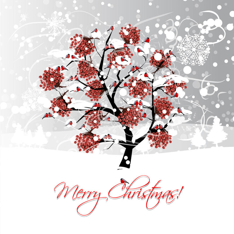 Progettazione di cartolina di Natale con l'albero di sorba di inverno e royalty illustrazione gratis