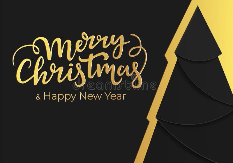 Progettazione di cartolina di Natale festiva di lusso nello stile noir alla moda con i colori moderni dell'oro e neri Cartolina d illustrazione vettoriale