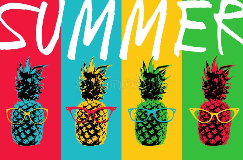 Progettazione di colore dell'ananas di estate con i vetri dei pantaloni a vita bassa royalty illustrazione gratis