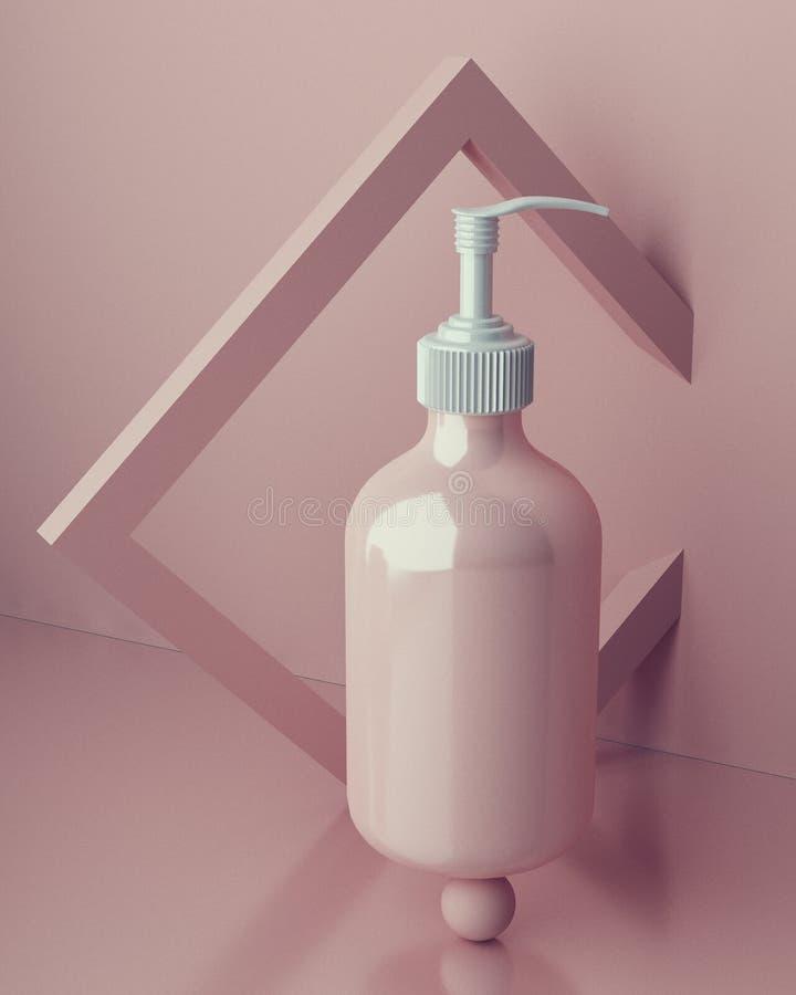 Progettazione di crema cosmetica naturale, siero, imballaggio in bianco della bottiglia dello skincare Bio- prodotto biologico Be royalty illustrazione gratis