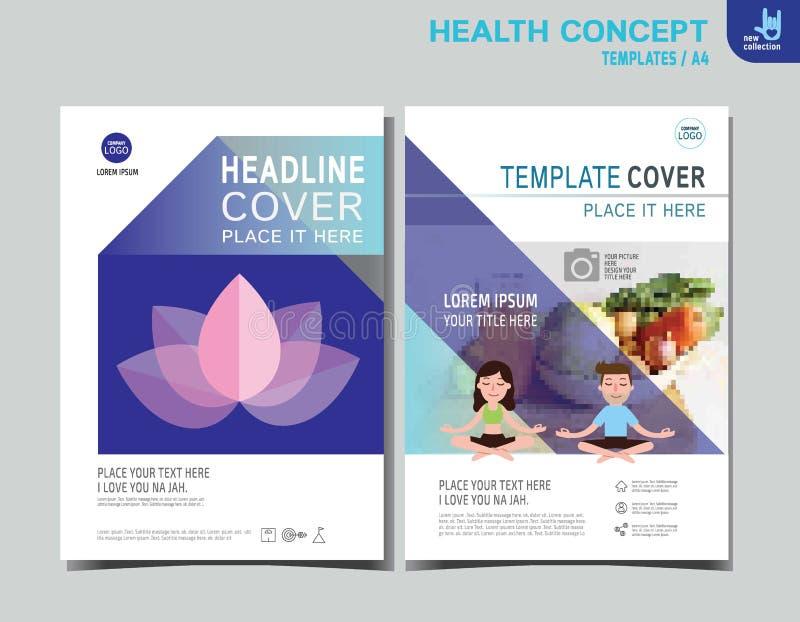 Progettazione di dimensione del modello A4 dell'opuscolo dell'opuscolo di salute dell'aletta di filatoio illustrazione di stock