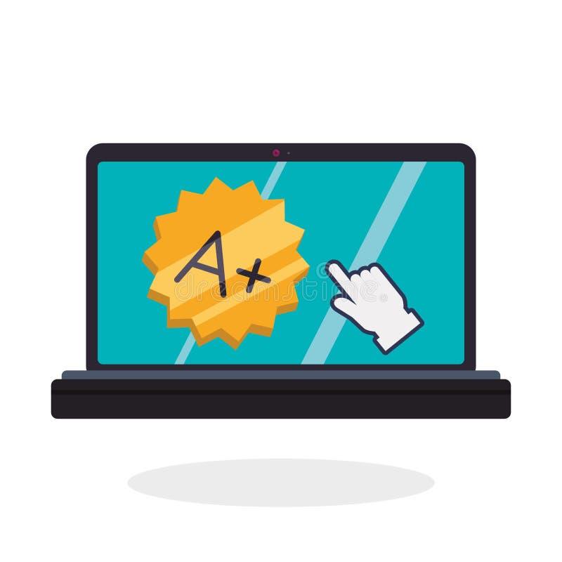 Progettazione di e-learning Icona di istruzione concetto online, illustrazione di vettore royalty illustrazione gratis