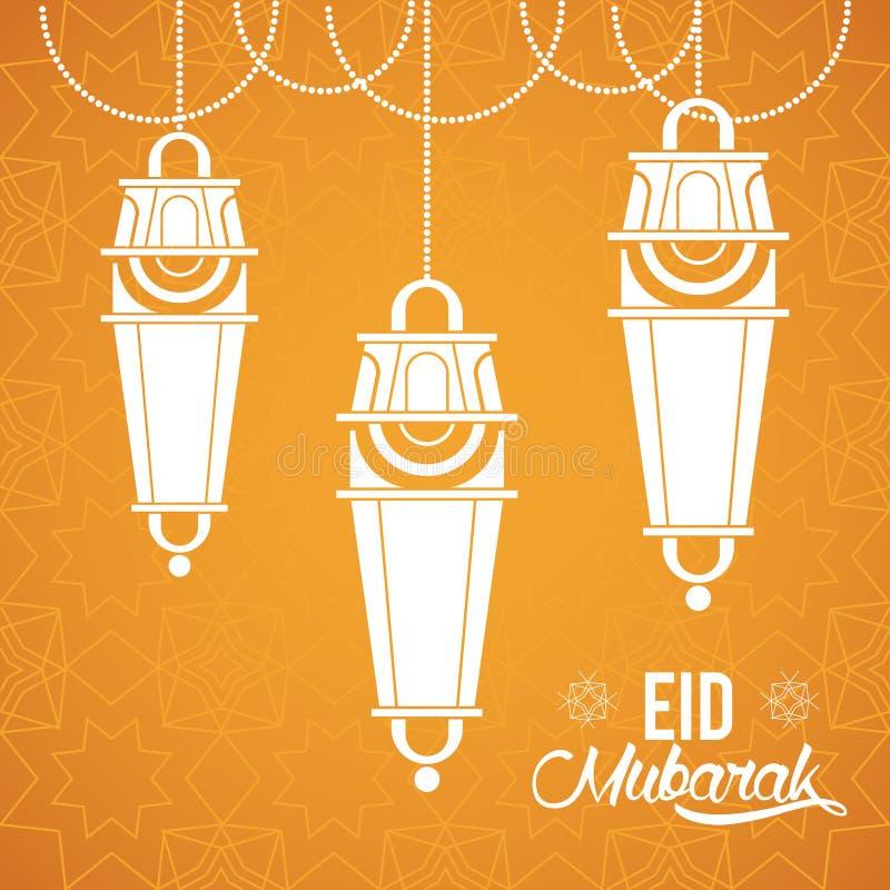 Progettazione di Eid Mubarak con le lampade islamiche royalty illustrazione gratis