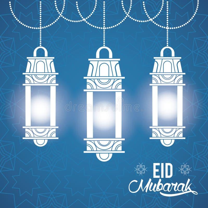 Progettazione di Eid Mubarak con le lampade islamiche illustrazione di stock