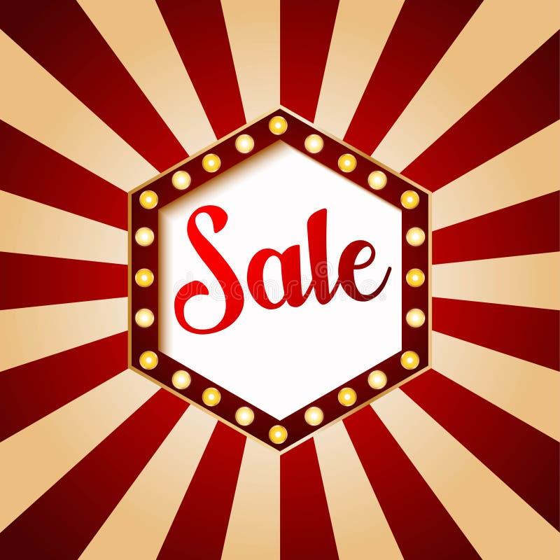 Progettazione di esagono dell'insegna di vendita del casinò Colore rosso sull'illustrazione d'annata del fondo illustrazione di stock