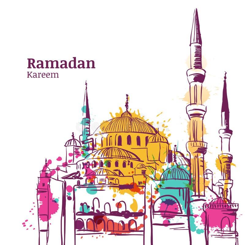 Progettazione di festa di Ramadan Kareem Illustrazione di schizzo dell'acquerello della moschea royalty illustrazione gratis