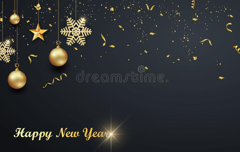 Progettazione di festa di Natale con stile tagliato di carta del fiocco di neve Fondo scuro squisito con i fiocchi di neve dorati illustrazione vettoriale