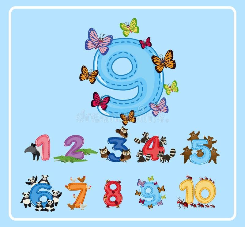 Progettazione di Flashcard per il numero nove con le farfalle royalty illustrazione gratis
