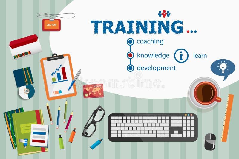 Progettazione di formazione e concetti piani dell'illustrazione di progettazione per il busine illustrazione di stock