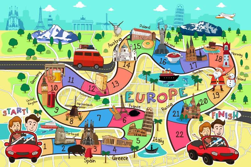 Progettazione di gioco da tavolo di viaggio illustrazione di stock