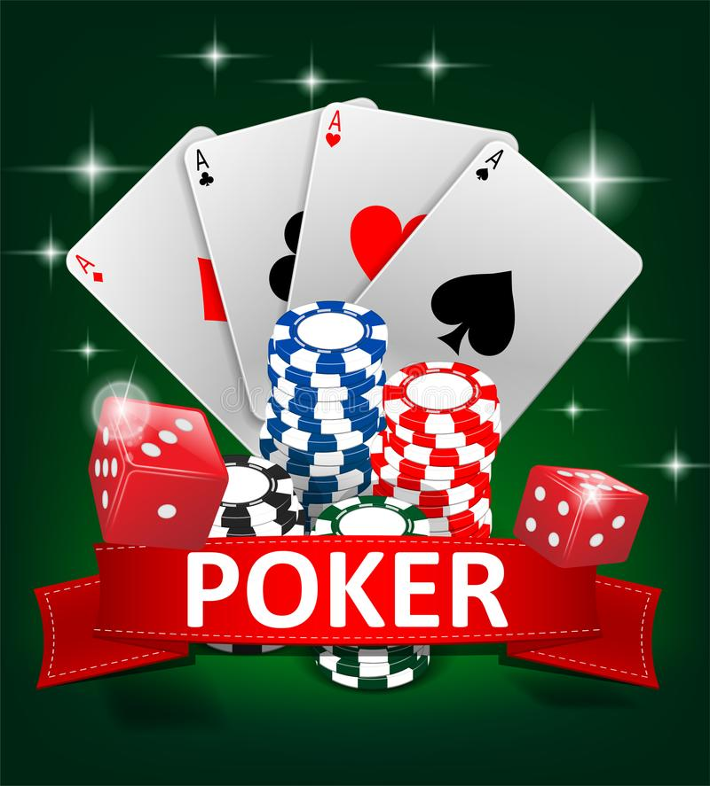 Progettazione di gioco del fondo della mazza del casinò Insegna del poker con i chip, le carte da gioco ed i dadi Insegna online  illustrazione vettoriale