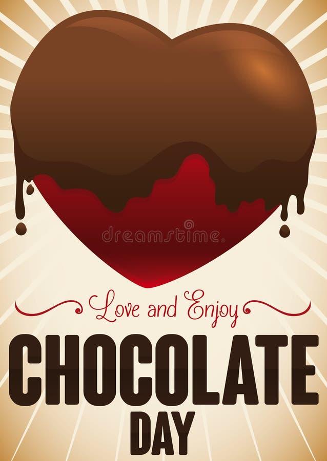 Progettazione di giorno del cioccolato con un cuore coperto in cioccolato liquido, illustrazione di vettore royalty illustrazione gratis