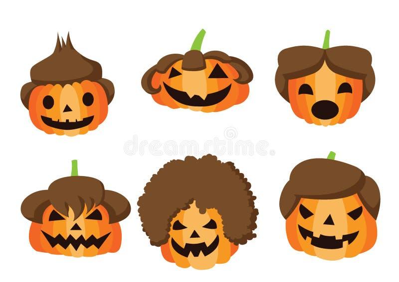 Progettazione di Halloween dell'acconciatura della zucca su fondo bianco illustrazione di stock