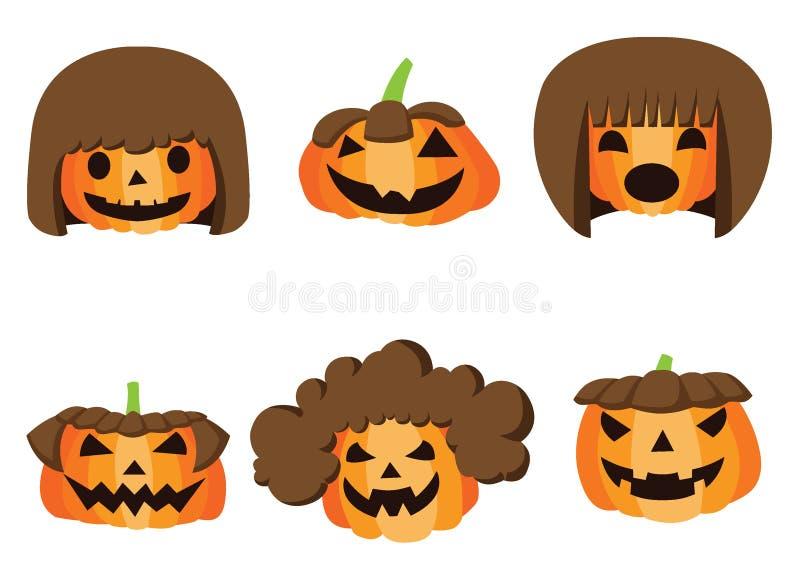 Progettazione di Halloween dell'acconciatura della zucca sul vettore bianco dell'illustrazione del fondo royalty illustrazione gratis