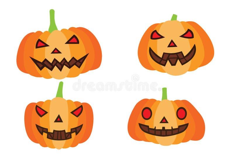 Progettazione di Halloween della zucca su fondo bianco illustrazione di stock