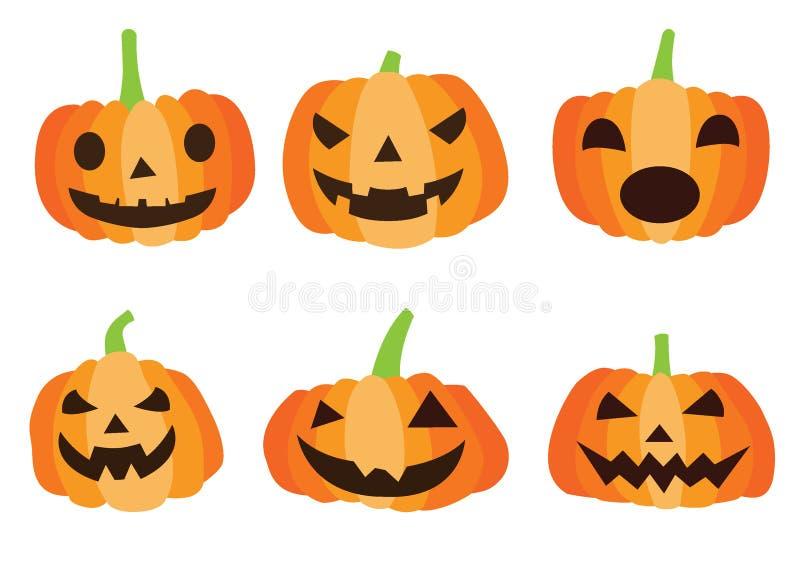 Progettazione di Halloween della zucca sul vettore bianco dell'illustrazione del fondo illustrazione di stock