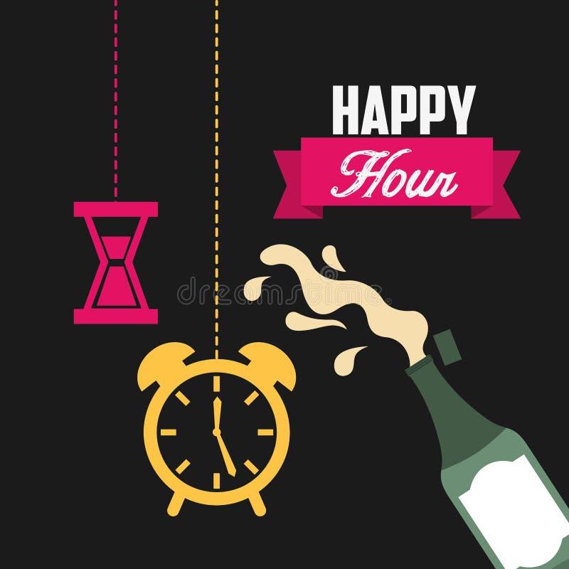 Progettazione di happy hour illustrazione di stock