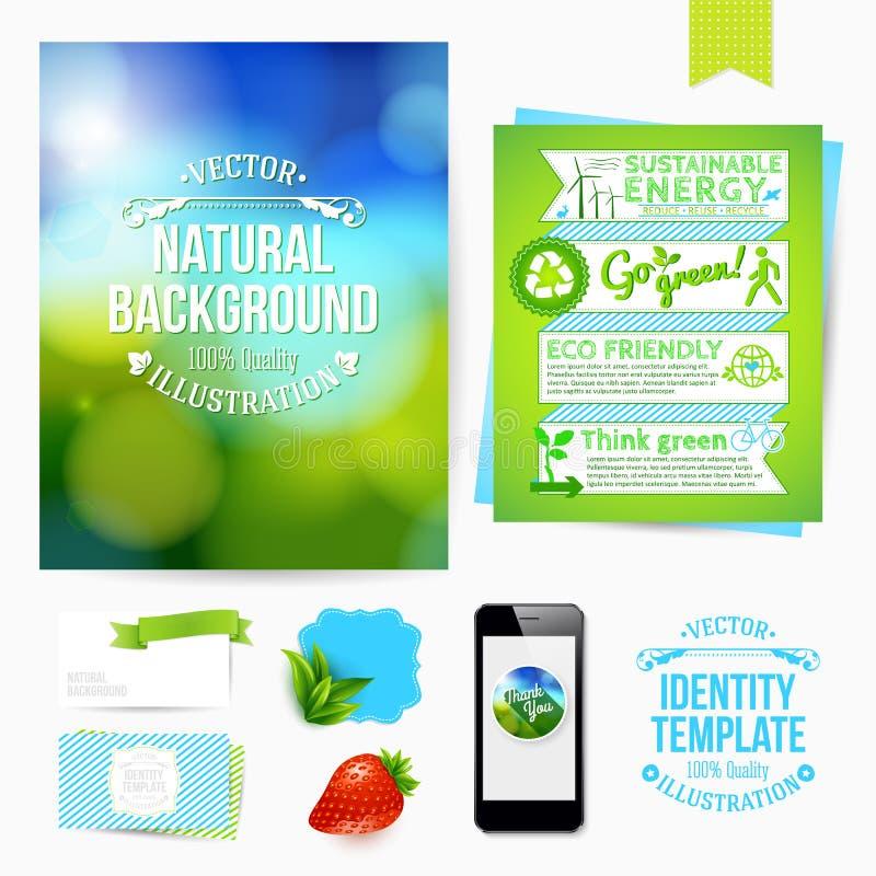 Progettazione di identità per il vostro affare Stile amichevole di Eco Insieme del bl illustrazione di stock