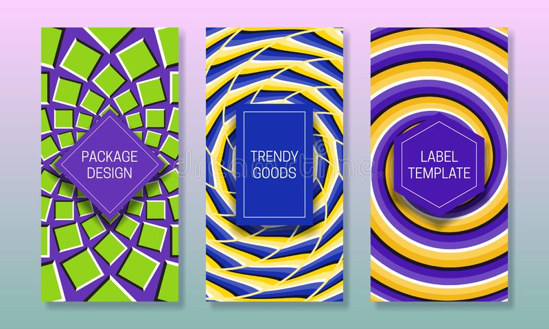 Progettazione di imballaggio di illusione ottica Metta dei modelli variopinti delle etichette per le merci d'avanguardia Bei ambi illustrazione di stock