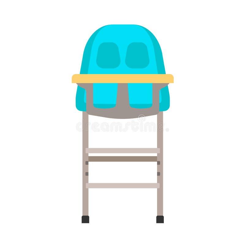 Progettazione di infanzia dell'icona di vettore del seggiolone del bambino Sedile piano della mobilia del fumetto del bambino Bam illustrazione di stock
