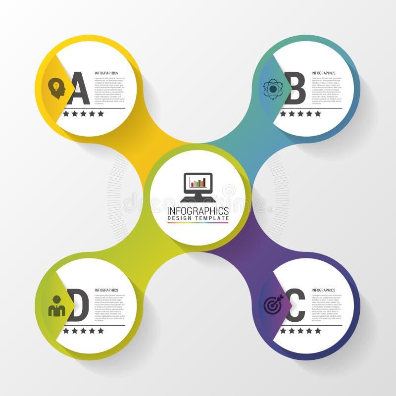 Progettazione di Infographic con i cerchi colorati sui precedenti grigi Concetto di affari Illustrazione di vettore royalty illustrazione gratis