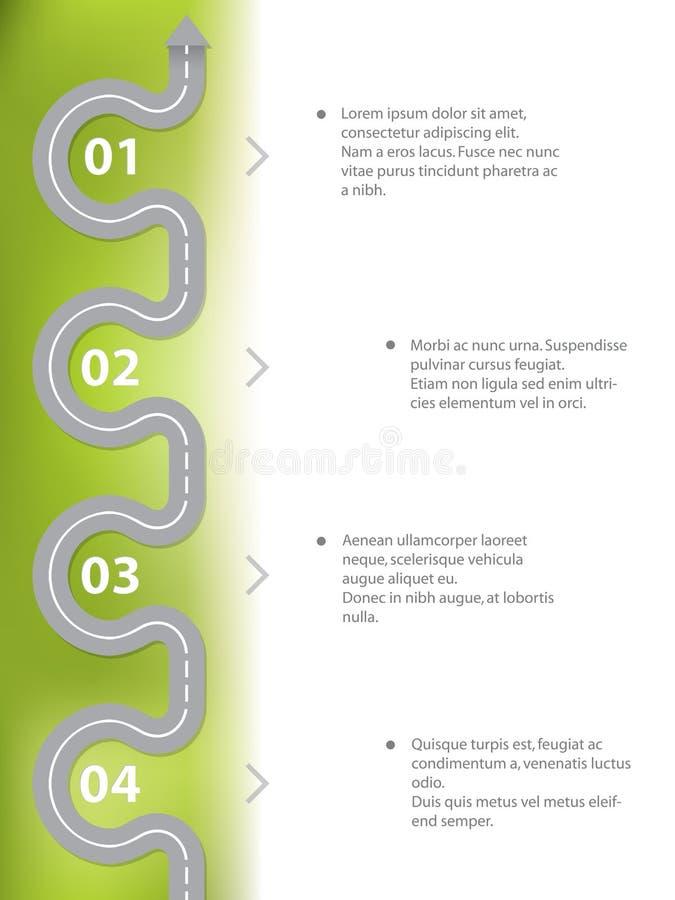 Progettazione di Infographic con la strada curvy illustrazione di stock