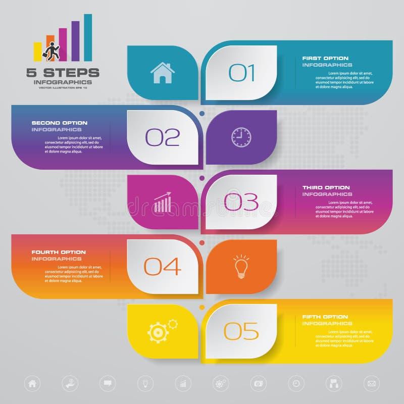 Progettazione di Infographics con una cronologia di 5 punti per la vostra presentazione royalty illustrazione gratis