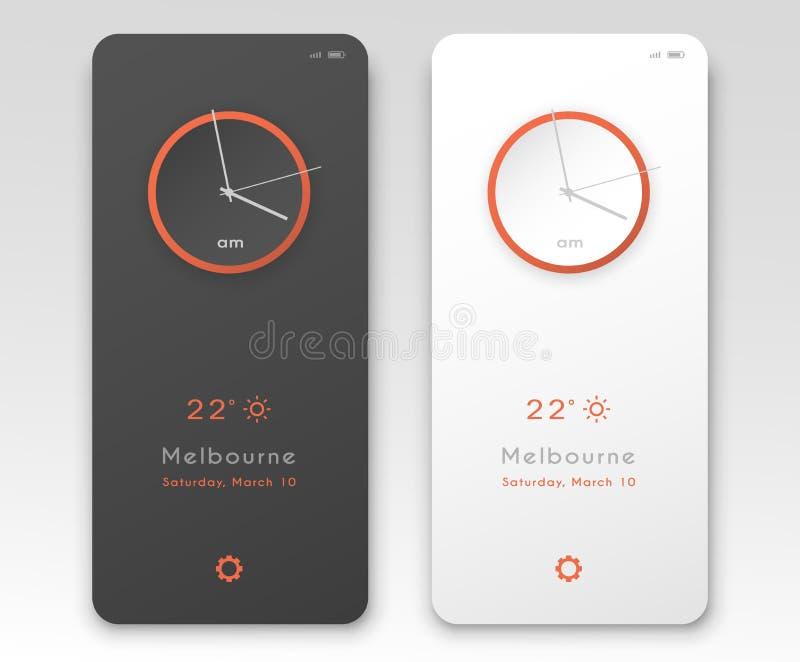 Progettazione di interfaccia mobile di applicazione Opzioni scure e leggere del salvaschermo dell'orologio Illustrazione di vetto illustrazione vettoriale