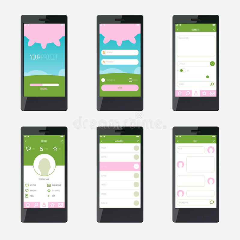 Progettazione di interfaccia mobile di applicazione del modello royalty illustrazione gratis