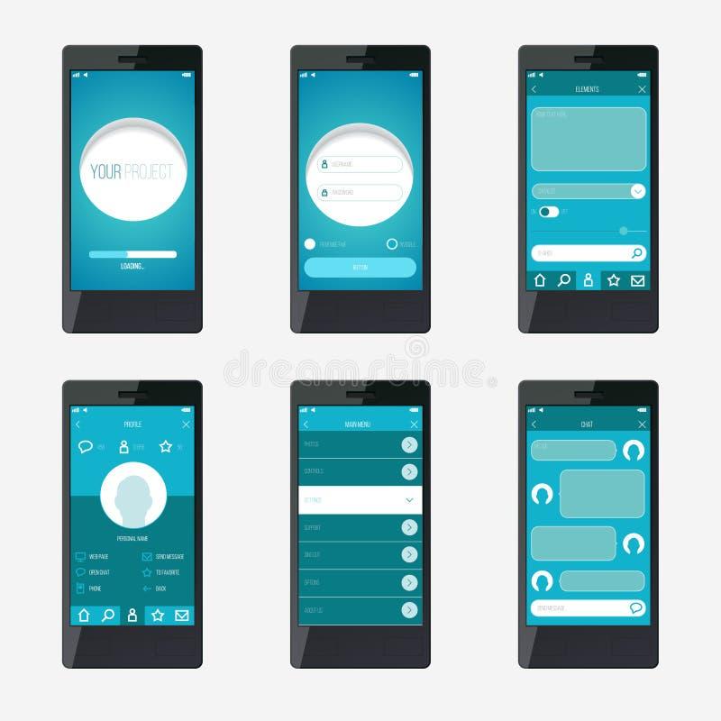 Progettazione di interfaccia mobile di applicazione del modello illustrazione di stock