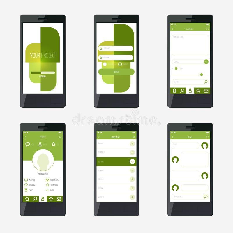 Progettazione di interfaccia mobile di applicazione del modello illustrazione vettoriale