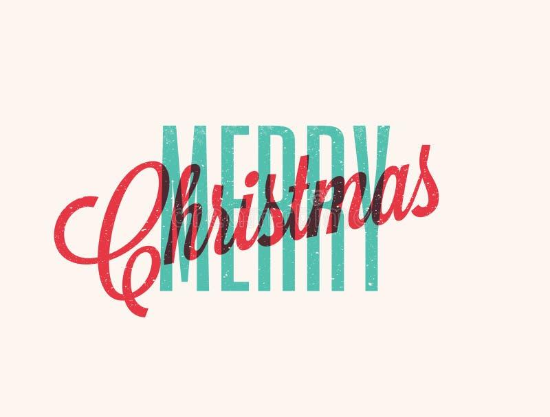 Progettazione di iscrizione di Buon Natale L'annata ha disegnato l'illustrazione di vettore illustrazione vettoriale