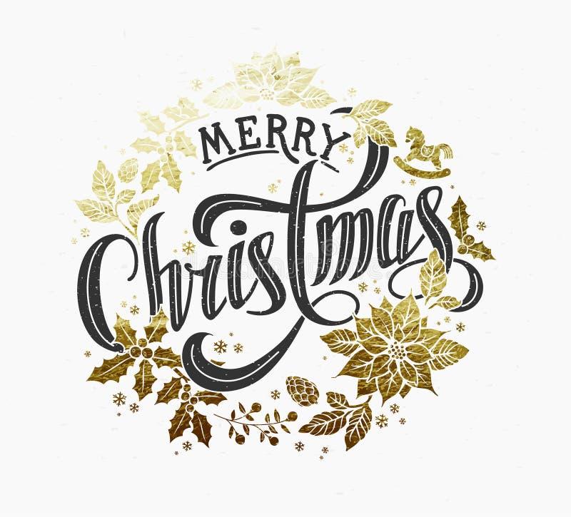 Progettazione di iscrizione calligrafica di Buon Natale immagini stock libere da diritti