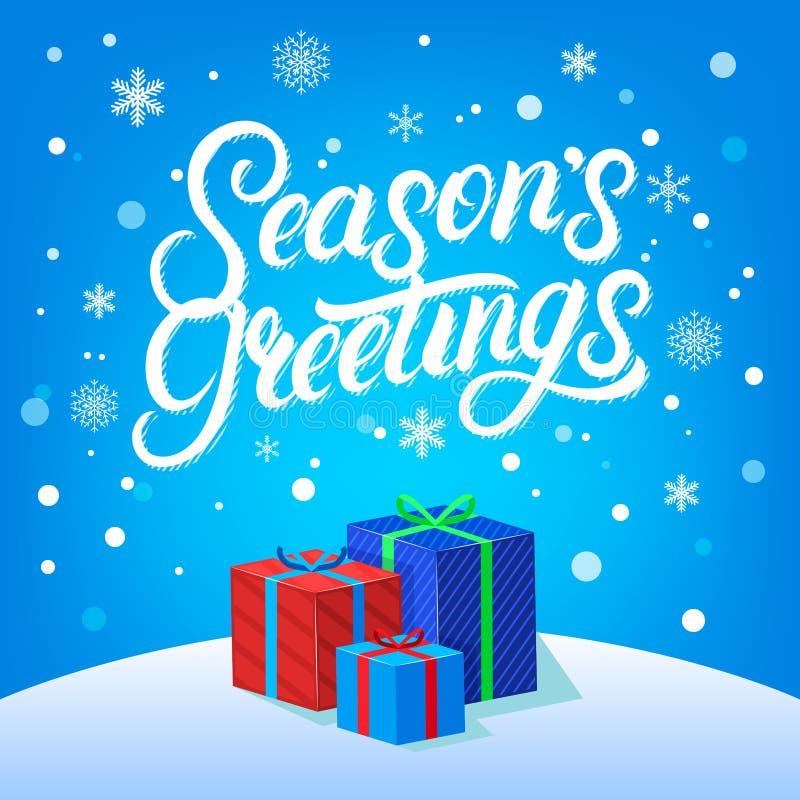 Progettazione di iscrizione redatta mano di saluti di stagioni Spazzola moderna calligarphy per la cartolina di Natale illustrazione di stock