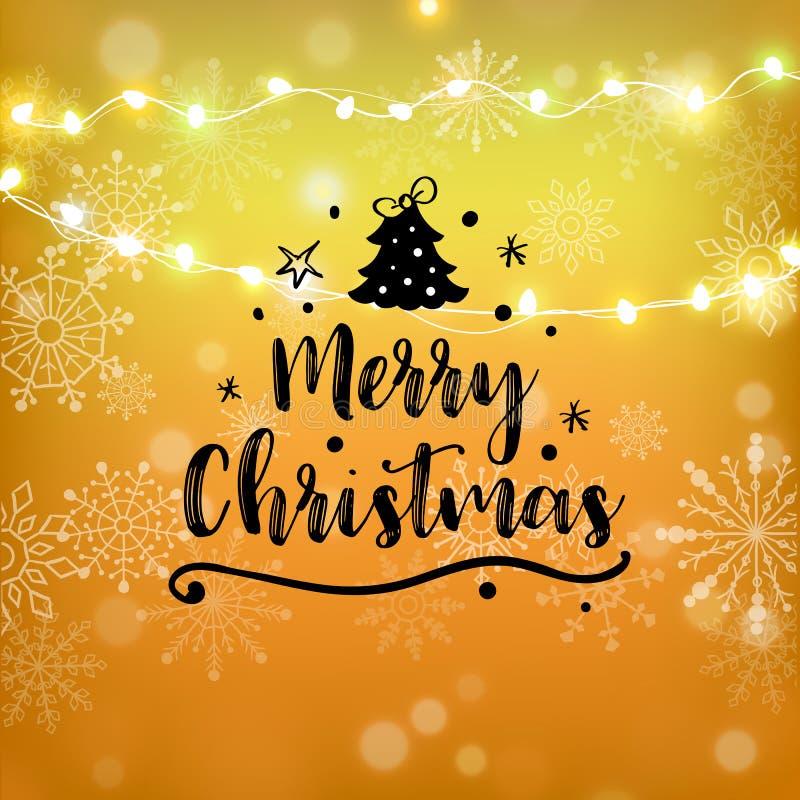 Progettazione di iscrizione di scintillio dell'oro di Buon Natale Cartolina d'auguri di Natale, manifesto, insegna Neve brillante royalty illustrazione gratis