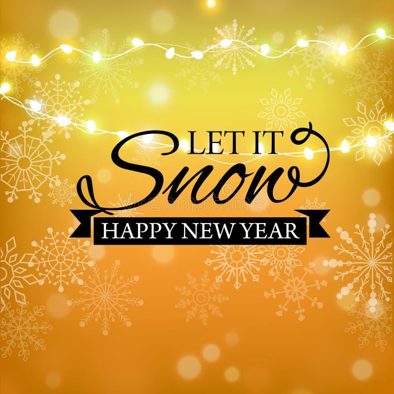 Progettazione di iscrizione di scintillio dell'oro di Buon Natale Cartolina d'auguri di Natale, manifesto, insegna Neve brillante illustrazione vettoriale