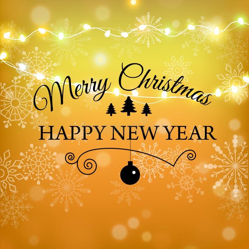Progettazione di iscrizione di scintillio dell'oro di Buon Natale Cartolina d'auguri di Natale, manifesto, insegna Neve brillante illustrazione di stock