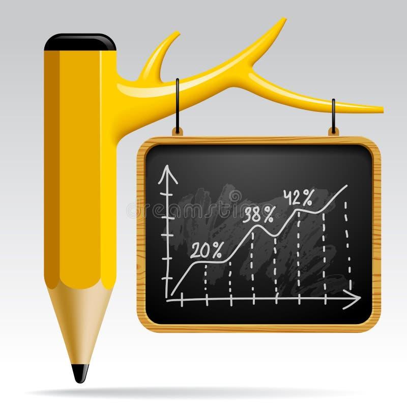 Progettazione di istruzione con la matita e la lavagna dell'albero illustrazione vettoriale