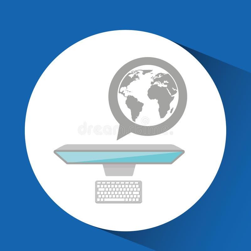 Progettazione di lavoro di media del globo del computer dell'uomo illustrazione vettoriale