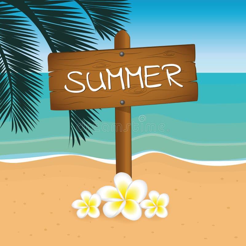 Progettazione di legno di vacanza estiva del segno sulla spiaggia con foglia di palma illustrazione di stock