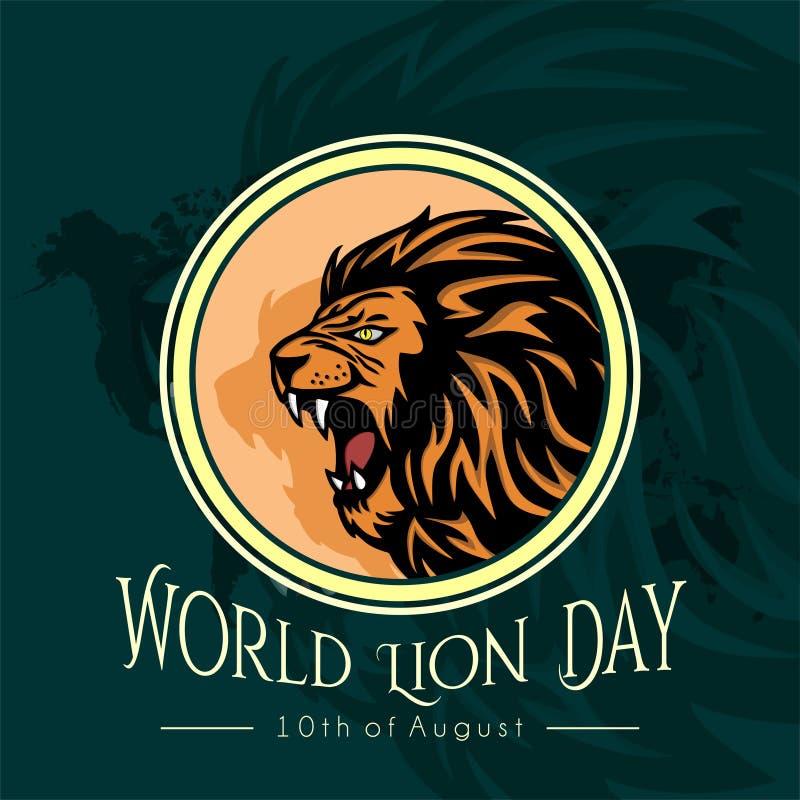 Progettazione di Lion Day Vector del mondo illustrazione di stock