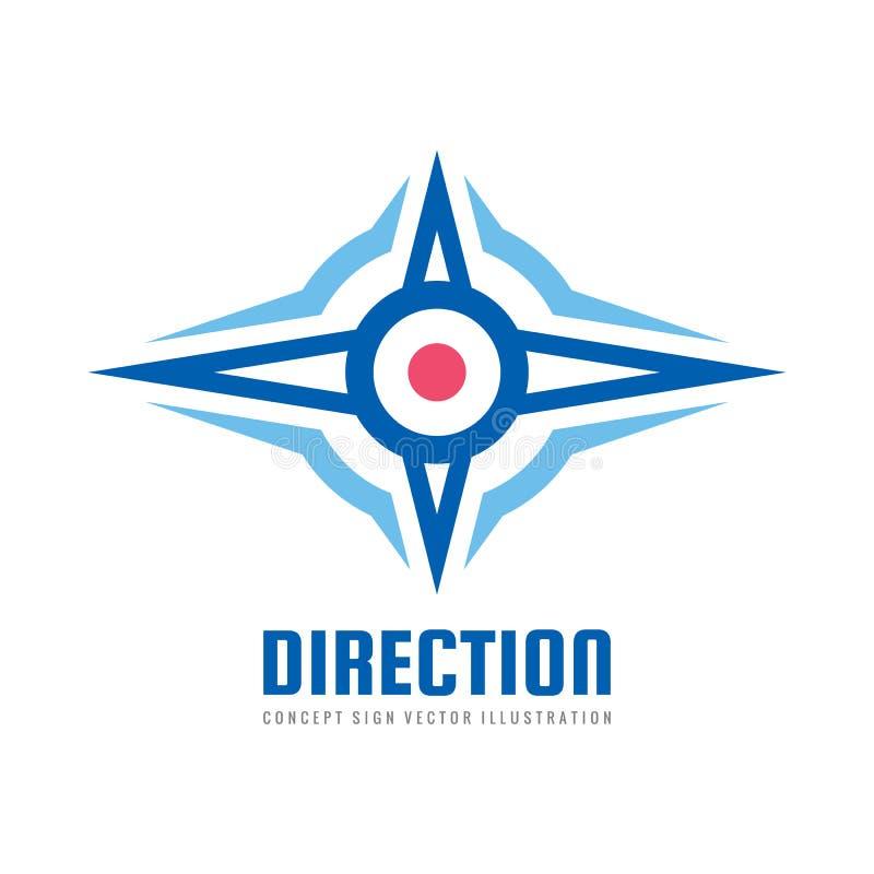 Progettazione di logo di affari di direzione Segno astratto del vento della rosa dei venti Simbolo di navigazione Illustrazione d illustrazione vettoriale